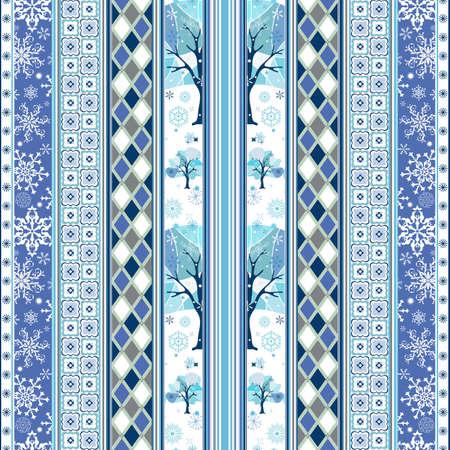 ornaments vector: Ripetendo con striping natale bianco-blu wallpaper con fiocchi di neve e decorazioni geometriche (vettoriale)