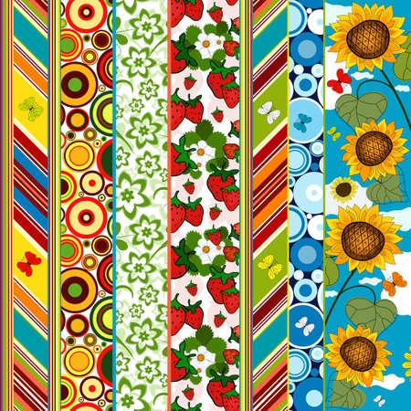 sfondo strisce: Bordo decorativi senza saldatura a strisce colorate estate con applicazione floreali (vettoriale)