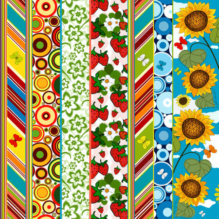 listras: Decorative seamless striped colorful summer border with floral application (vector) Ilustração