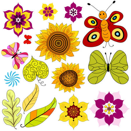 lilas: Collection decorative  isolated flowers and  butterflies on white (vector) Illustration