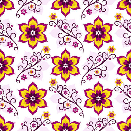 handwork: Seamless white floral pattern with violet, pink and yellow flowers (vector)