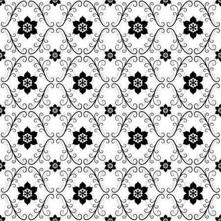 rhombus: White and black-grey vintage seamless pattern (vector) Illustration