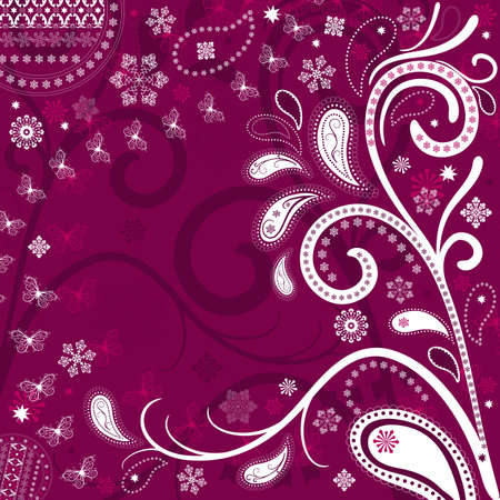 Purple and white christmas frame with snowflakes and stars (vector) Vector