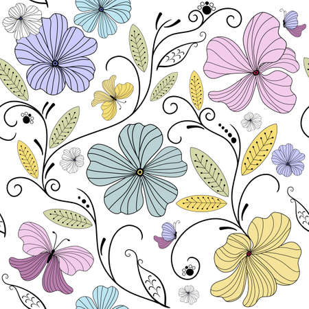 effortless: Pastel seamless floral pattern with flowers and butterflies (vector)