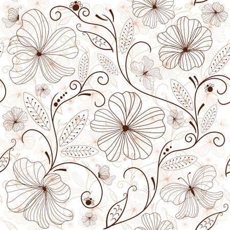 repeat: Seamless white floral pattern with brown flowers
