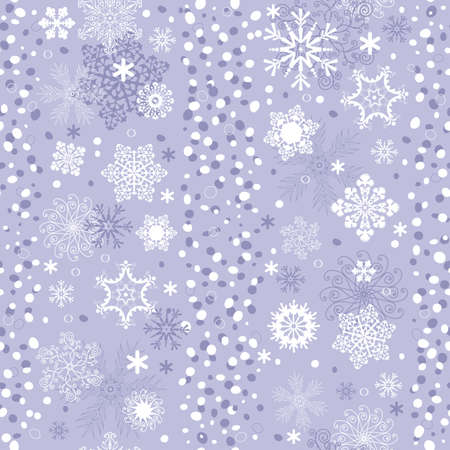 Seamless gentle violet-white striped christmas pattern with snowflakes (vector) Vector