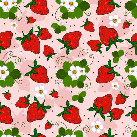 Pink repeating pattern with a strawberry, leaves and flowers (vector) Vector
