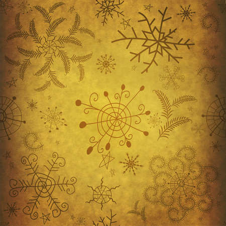 Old yellow christmas paper with snowflakes  photo