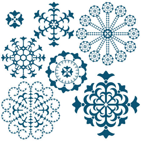 Set blue vintage snowflakes isolated on white