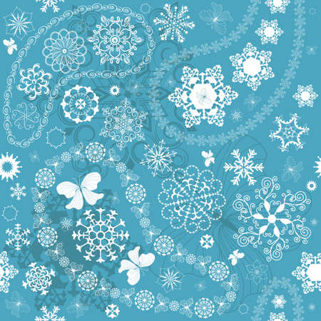 Christmas seamless blue pattern with white snowflakes and paisley  Illustration