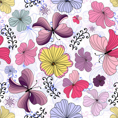 White seamless floral pattern with vivid flowers and butterflies Vector