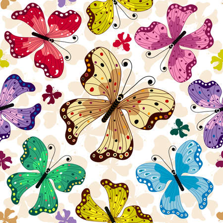 red butterfly: Seamless white pattern with colorful butterflies  Illustration