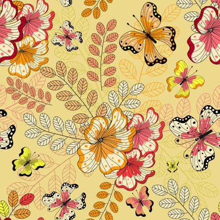 effortless: Amarillo patr�n floral transparente con flores y mariposas