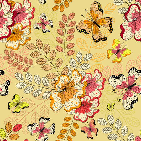 Yellow seamless floral pattern with flowers and butterflies  Vector