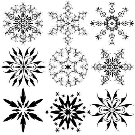 seasonal symbol: Set of vintage snowflakes isolated on white