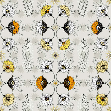 Seamless grey floral pattern with white and yellow flowers   Vector
