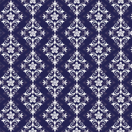 rhombus: Violet and white vintage seamless pattern