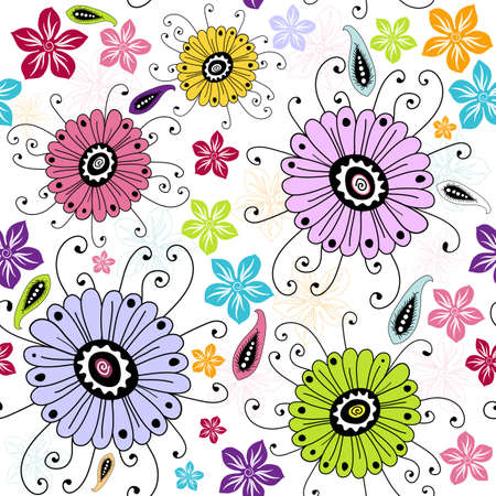 Seamless white floral pattern with red, violet, yellow and blue flowers  Illusztráció