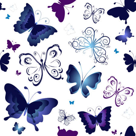 lilas: Seamless white pattern with blue and violet butterflies