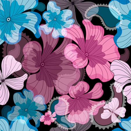 pink and black: Seamless floral black pattern with pink and blue flowers   Illustration