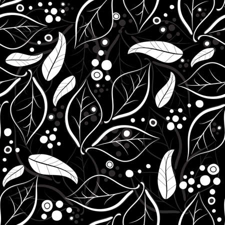 leaf curl: Black and white-grey seamless floral pattern