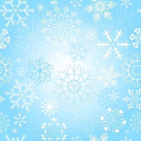 Seamless gentle blue pastel Christmas pattern with snowflakes Vector
