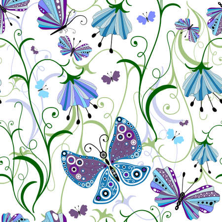 White seamless floral pattern with blue-violet flowers and butterflies Vector