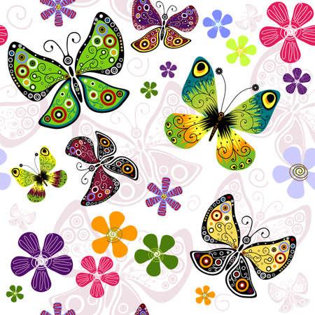 effortless: Blanco patr�n floral sin esfuerzo con mariposas vivas Vectores