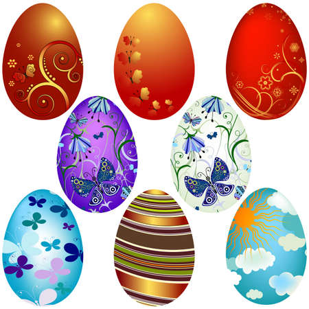 Collection Easter`s eggs isolated on white background Vector