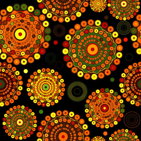 Black abstract seamless pattern with concentric colorful circles Vector
