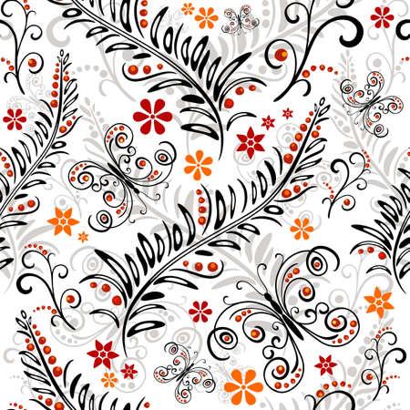 effortless: Blanco patr�n floral sin esfuerzo con flores y mariposas
