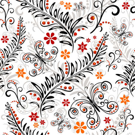 effortless: White effortless floral pattern with flowers and butterflies  Illustration