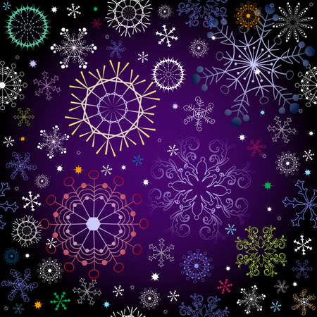 Black and violet effortless christmas pattern with colorful snowflakes Vector