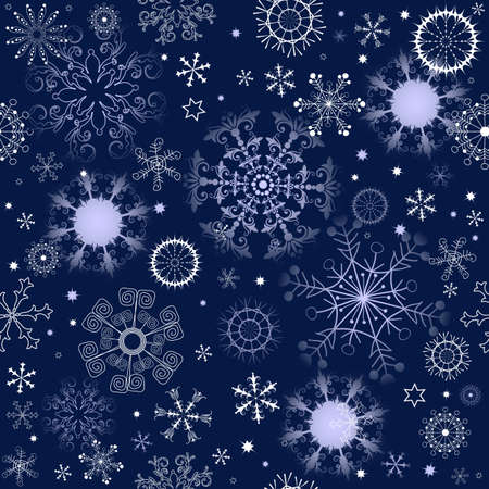 Dark blue repeating pattern with snowflakes and stars Vector