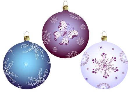 christmass: Conjunto bolas de Navidad aislados en blanco Vectores