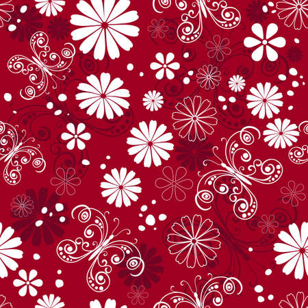 butterfly background: Seamless red, purple and white floral pattern