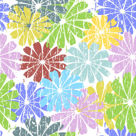 White seamless grunge floral pattern with pastel flowers Vector