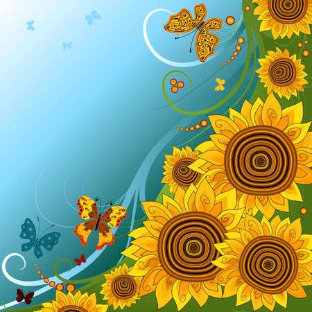 girasol: Fondo brillante de primavera con girasoles y mariposas