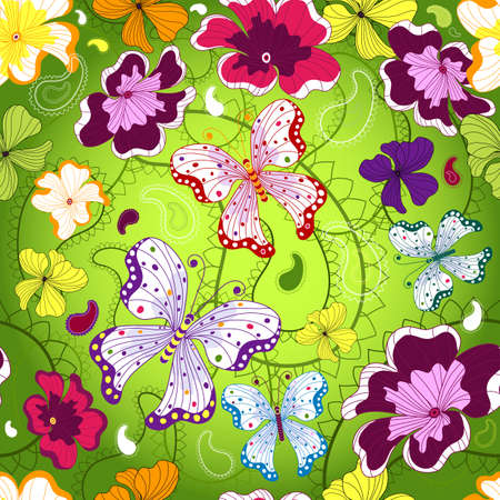 Green seamless floral pattern with flowers and butterflies Vector
