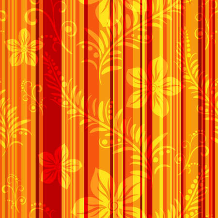 Seamless orange-red striped pattern with floral application (vector eps 10) Vector