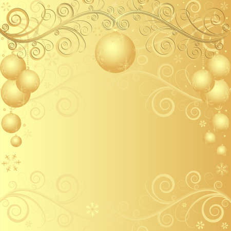 Golden elegant christmas frame with balls  Vector