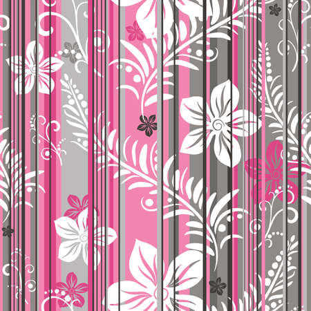 Pink-grey-white floral  seamless striped pattern
