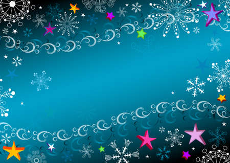 Dark blue Christmas frame with snowflakes and stars  Vector