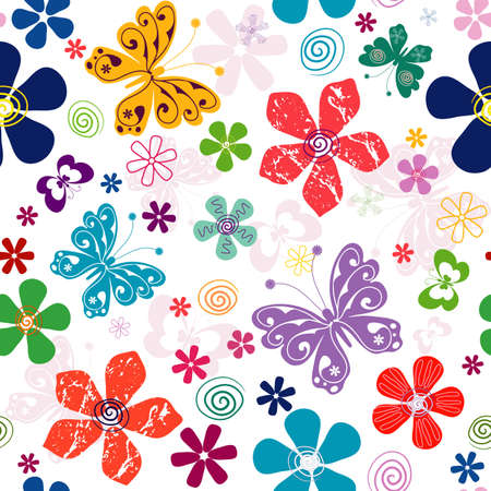 effortless: Spring  effortless white floral pattern with vivid flowers and   butterflies (vector) Illustration