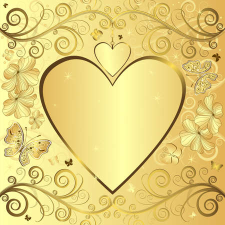 gold floral: Valentine elegant golden floral frame with hearts (vector) Illustration