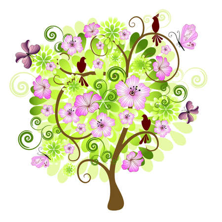 Spring isolated tree on a white background with flowers, birds and butterflies for design (vector) Stock Vector - 8462922
