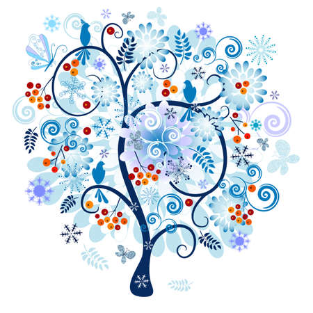Winter tree with berries, birds and snowflake and butterflies isolated on a white background (vector) Vector