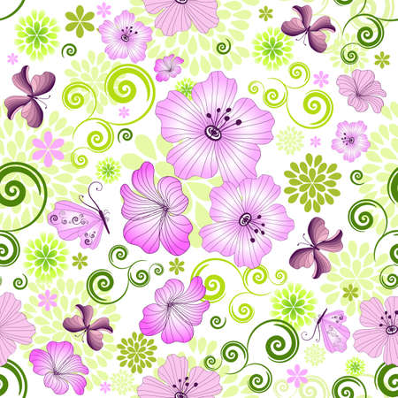 lilas: Spring repeating floral pattern with flowers and butterflies (vector)