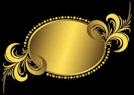 Oval golden frame with vintage curls and an ornament on black (vector) Vector