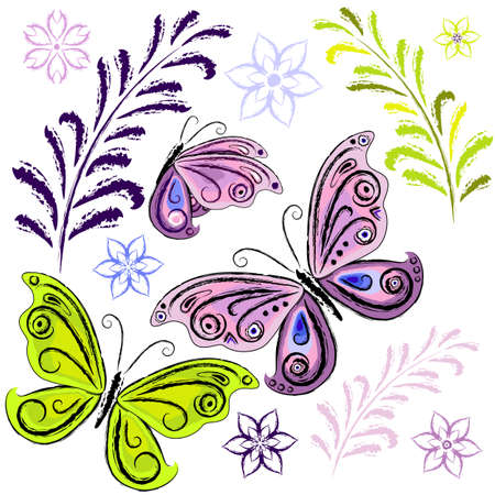 Set decorative isolated grunge flowers and butterflies on white (vector)